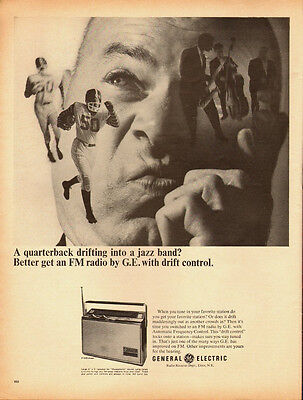 1967 Vintage for General Electric FM Radio/Football player in Ad (041813)