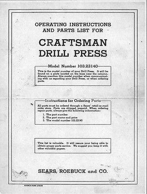 1947 Craftsman 103.23140  Drill Press Instructions