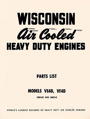 Wisconsin Ve4d Vf4d Air Cooled Engine Parts Manual