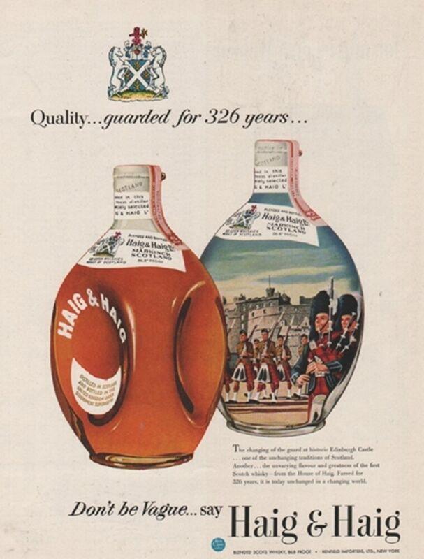 1953 Haig Scotch Changing of the Guard Edinburgh Castle Markinch Scotland Ad
