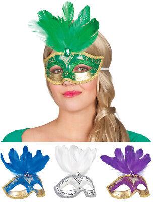 Venezianische Augenmaske Venice mit Federn - Kostüm Maskenball Venedig Karneval