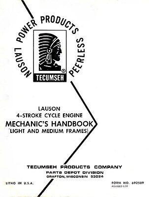 Tecumseh Lauson 4 Four Stroke Engine Mechanics Service Shop Manual