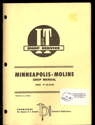 Minneapolis-moline Tractor It Shop Manual Gb-ub-zb Diesel Non-diesel  Mm-6