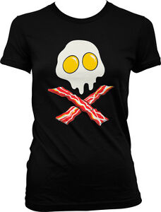 Bacon-And-Eggs-Skull-And-Crossbones-Breakfast-FREE-SHIP-Juniors-Girls-T-shirt