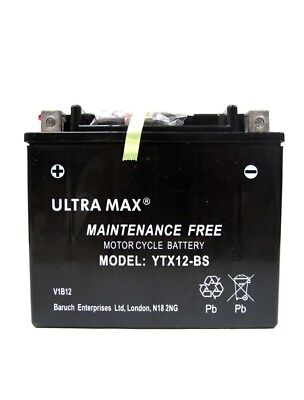 ULTRAMAX BATTERY MOTORCYCLE YTX12 BS YTX12BS 12V 12AH <em>YAMAHA</em> XVS DRAG
