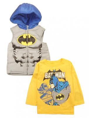 Batman Toddler Boys Costume Puffer Vest & Top Set Size 2T 3T - Batman Costume 3t