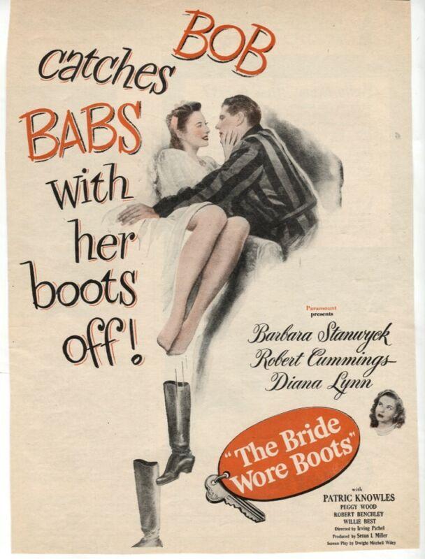 The Bride Wore Boots 1946 Barbara Stanwyck Bob Cummings Movie Ad Magazine VTG