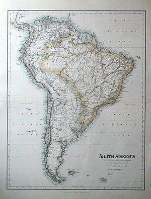 SOUTH AMERICA, Fullarton original antique map c1865