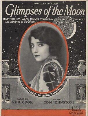 Glimpses of the Moon, Photo of Bebe Daniels, 1923 vintage sheet music