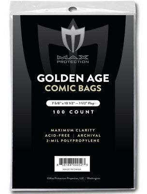 100 Golden Age Comic Book Bags & Backing Boards - NEW Max Archival Storage
