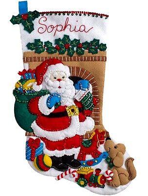 "Bucilla Felt Applique Kit 18"" Stocking ~ SANTA'S VISIT #86702 Sale"