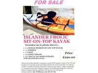 Islander Frolic Sit on Top One Person Kayak (approx 10ft long)