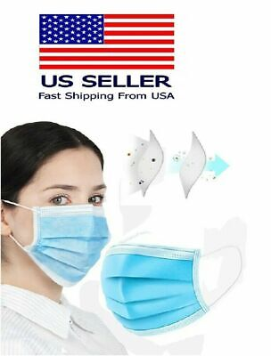 50 Pcs 3-ply Blue Face Mask Earloop Mouth Cover Industrial Authorized Seller