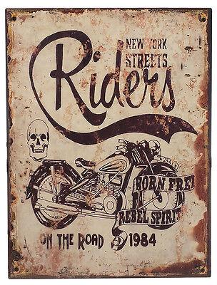Retro Blechschild NEW YORK STREET RIDERS Vintage Metallschild Biker Shabby Chic online kaufen