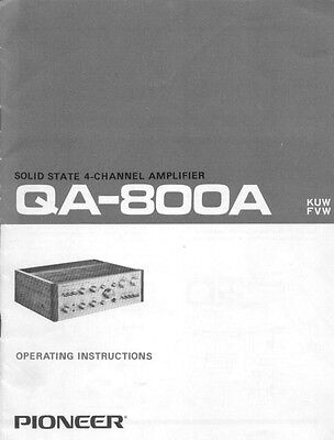 Pioneer QA-800A Amplifier Owners Manual
