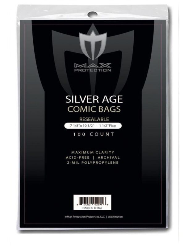 100 Max Pro RESEALABLE Silver Comic Book Acid Free Poly Bags archival sleeves