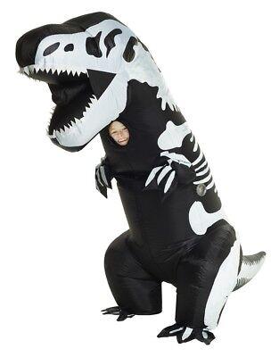 Skelett T-Rex Aufblasbar Kinder Kostüm Dinosaurier Schwarz Weiß - Lustige Skelett Kostüme