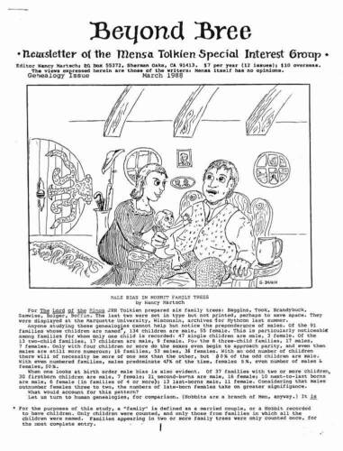 BEYOND BREE NEWSLETTER OF THE MENSA TOLKIEN SPECIAL INTEREST GROUP - March 1988