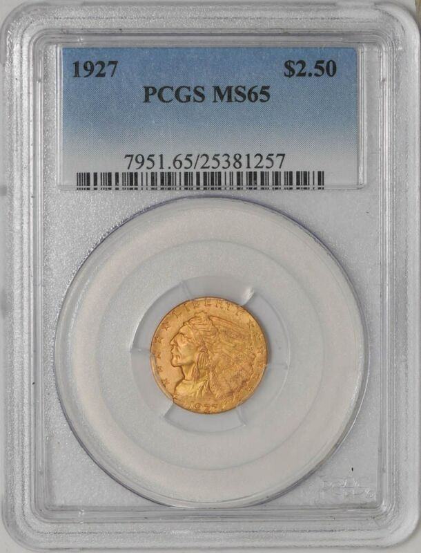 1927 $2 1/2 Gold Indian $2.5  MS65 PCGS   923300-15