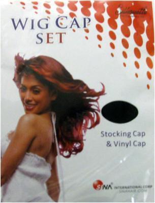 Silhouette Wig Cap Set Black Stocking Cap & White Vinyl Cap](Vinyl Wig)