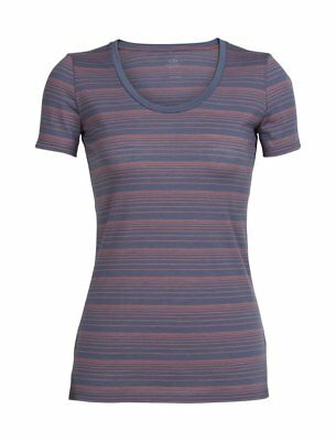 Icebreaker Womens Tech Lite Short Sleeve Neck Stripe Gumtree   V  Scoop  Crewe M