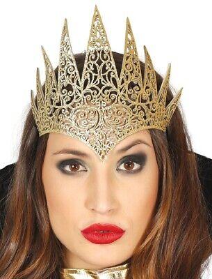 Damen Böse Königin Gold Kopfschmuck Haarband Kostüm Kleid Outfit Zubehör