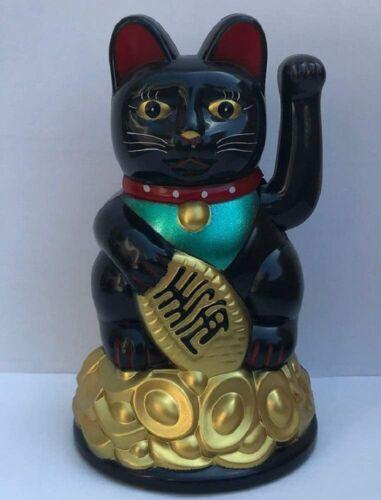 """Feng Shui BLACK BECKONING CAT Wealth Lucky Waving Kitty Maneki Neko 4.5"""" Tall"""