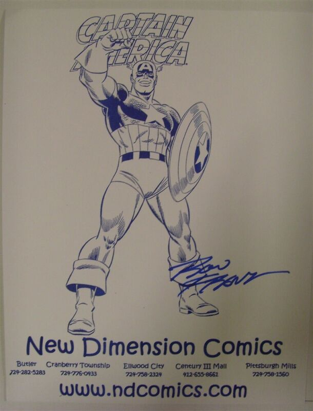 CAPTAIN AMERICA ART 8.5 X 11 NEW DIMENSION COMICS AD FLYER SIGNED RON FRENZ