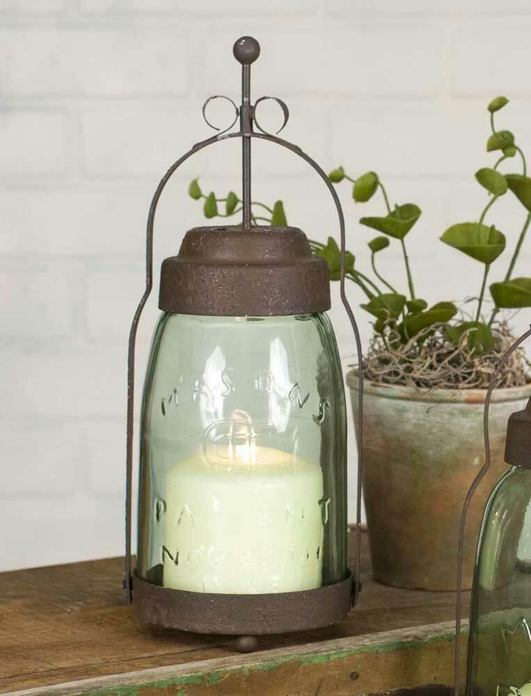 "Mason Jar Butler Lantern QUART SIZE 12"" Farmhouse Primitive"