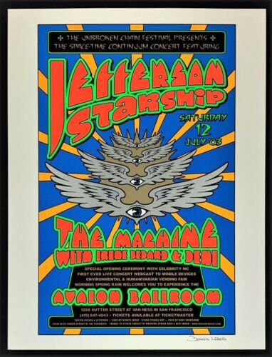 Jefferson Starship POSTER Avalon 2003 Signed Silkscreen Dennis Loren Grimshaw