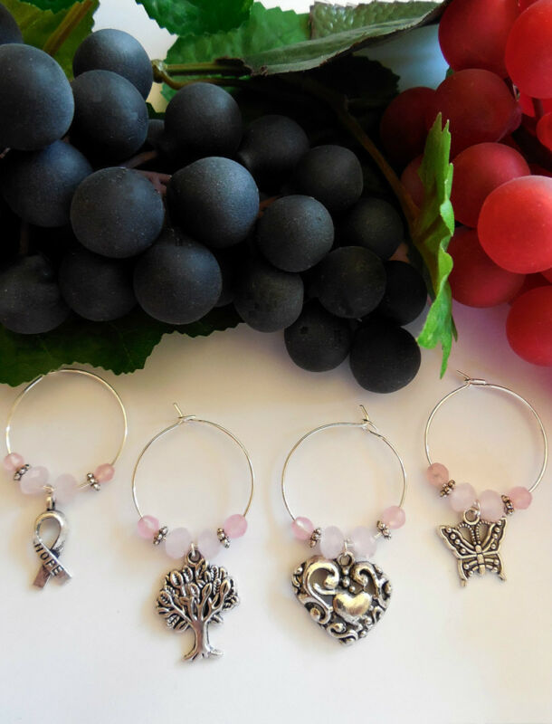 4 Opaque Pink Breast Cancer Awareness Wine Charms 20% DONATED FOR RESEARCH!