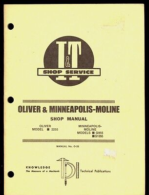 Oliver 2255  Minneapolis Moline G955 G1355 It Shop Manual Tractors