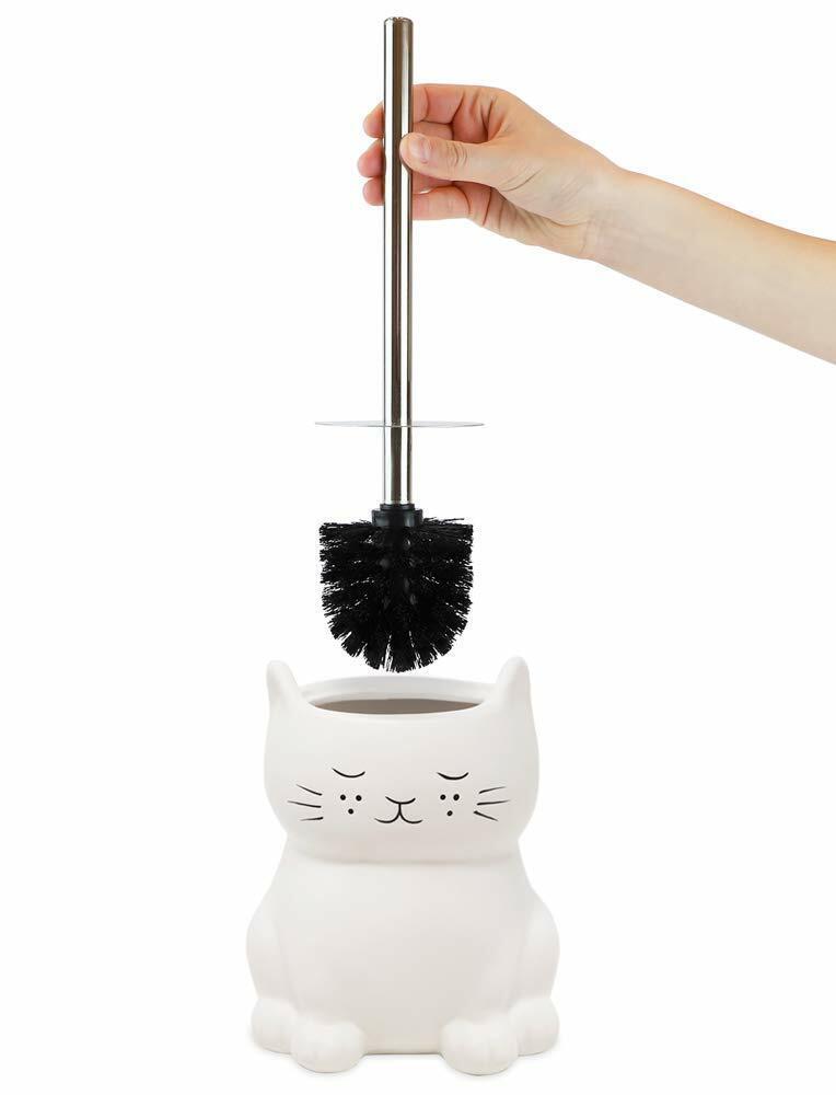White Ceramic Cat Toilet Bowl Brush Holder with Chrome Metal