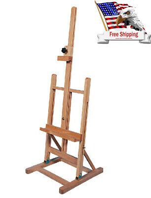 Standing Artist Beech Metal Wood Easel Table H-Frame Top Adjustable Art Painting Metal Table Easel