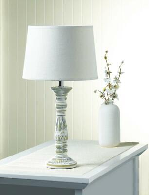 Distressed White and Gold ANTIQUE FINISHED TABLE LAMP End Table Nightstand Lamp White Antique End Table