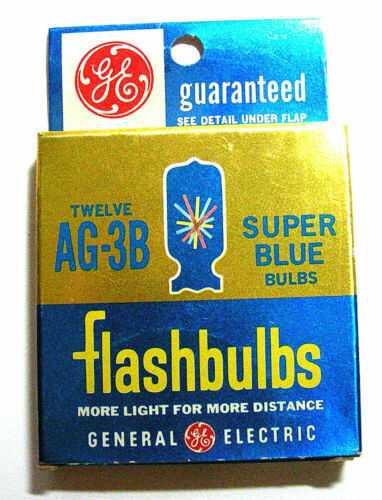 GE AG3-B SUPER BLUE FLASHBULBS 12 DOZEN