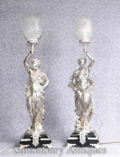 Silver Plate Gregoire Bronze Lamps Torcheres Signed
