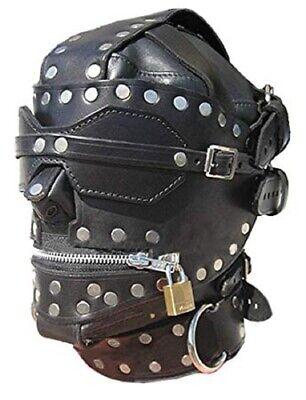 Zipper Mouth Mask (Bondage Hood Gimp Mask with Blindfold And Locking Mouth)