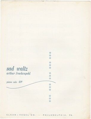 sad waltz Piano Solo, 1965 vintage sheet music