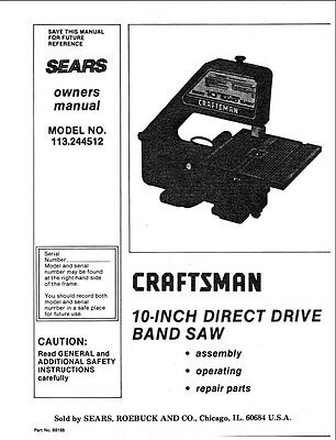 "Craftsman 113.244512  10"" direct drive band saw Instructions"