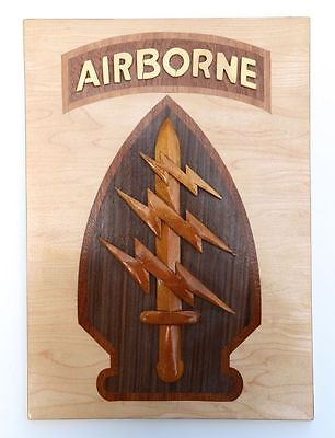 ARMY SPECIAL FORCES COMMAND  (AIRBORNE) SSI  Handcrafted Wooden Military Plaques