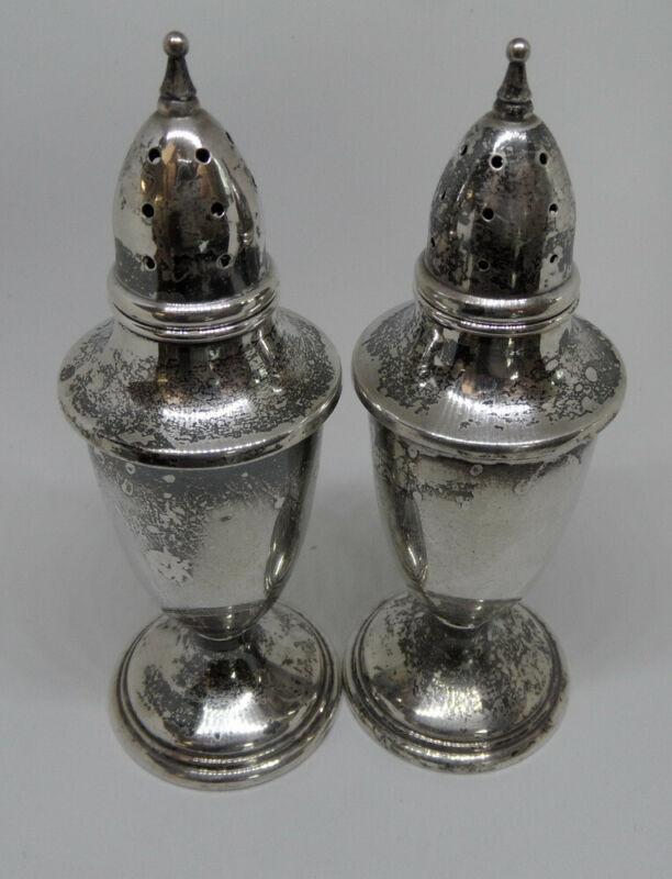 Antique Signed MUECK CAREY Sterling Silver SALT & PEPPER SHAKERS Set/Pair 66.7g