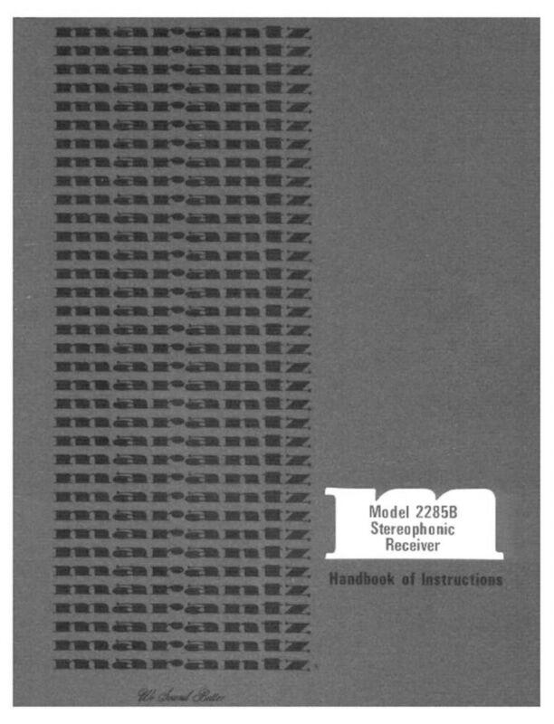 Marantz 2285B Receiver Owners Manual