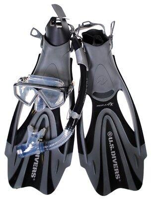 U.S. Divers Anacapa 2 LX Scuba Mask + Sonora Snorkel + Proflex Fins + Bag -Large