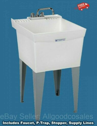 """LAUNDRY SLOP SINK Utility Tub w/ Faucet & Fittings Workshop Garage 24"""" x 20"""" NEW"""