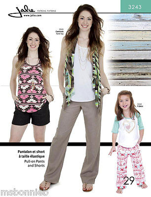 (Jalie 3243 Pull-on Straight-Leg Pants & Shorts Sewing Pattern Misses & Girls)