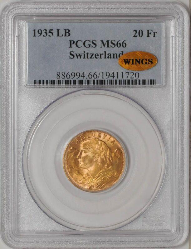 1935 LB Switzerland Gold 20 Francs MS66 PCGS ~ WINGS .1867 AGW  921034-2