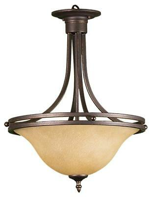 HOMEnhancements- Rubbed Bronze Tea Stained 3 Light Bowl Entry Fixture Pendant - Bronze 3 Light Bowl