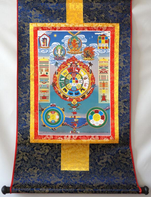 "FENG SHUI MANDALA BY MANJUSHRI!BROCADE WOOD SCROLL 32"" TIBET THANGKA TAPESTRY"