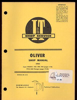 Oliver It Shop Manual Tractors Super 99gmtc 950 990 995 770 880
